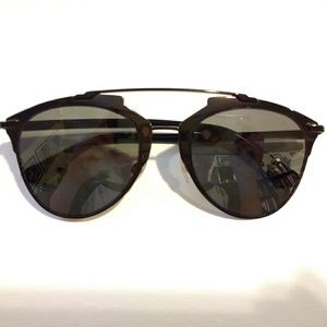 Dior Reflected Black Mirrored Aviator Sunglasses